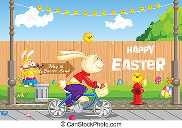 Easter Bunny cycling - easy to edit vector illustration of...