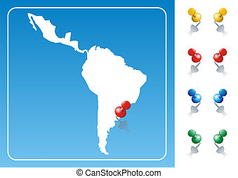 Latin America map illustration with pushpin. Vector image...