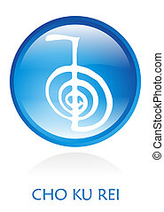 Reiki Symbol rounded with a blue circle. Vector file...