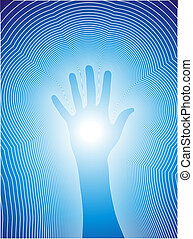 Healing hand with reiki lines