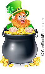 Leprechaun pointing to sign - A leprechaun cartoon character...