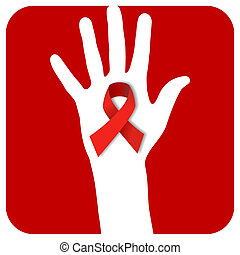 Stop AIDS hand - hand with a AIDS symbol over a red rounded...