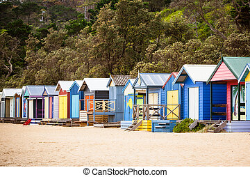 Australian Beach Huts - Beach huts at Mills Beach on a...