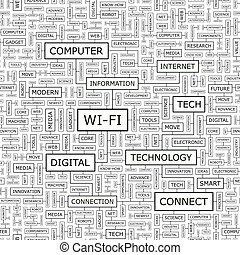 WI-FI Seamless pattern Word cloud illustration