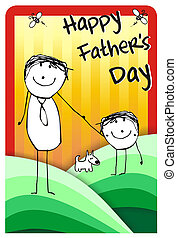 happy fathers day greeting - Colorfull hand writting...