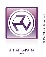 Antahkarana YIN icon Symbol in a violet rounded square....