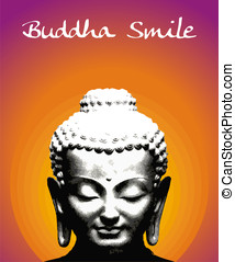 Buddha Smile - Buddha smile illustration. Vector file...