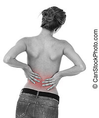 Painful lumbar - Woman having ache on lower back, isolated...