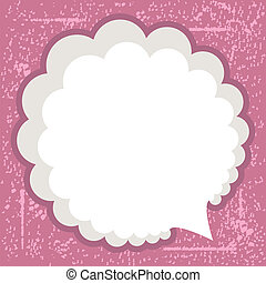 grunge bubble - vintage speech bubble on pink grunge...