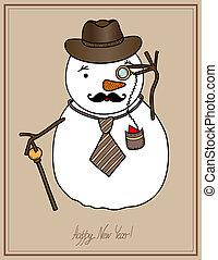 original hipster snowman in a hat, tie, mustache with...