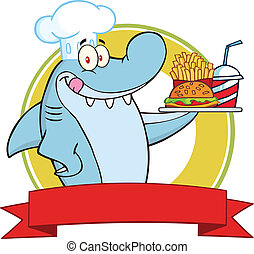 Chef Shark With Plate Label - Chef Shark With Plate Of...