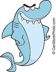 Angry Shark Character - Angry Shark Cartoon Character...