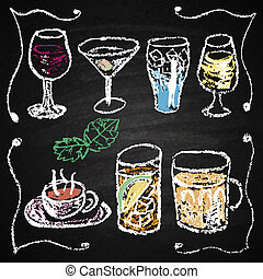Hand drawn cocktail menu elements. - Chalk on board. Vector...