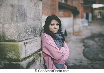 homeless girl - poor young woman on the street