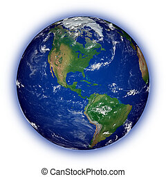 North America on planet Earth - American continent on blue...