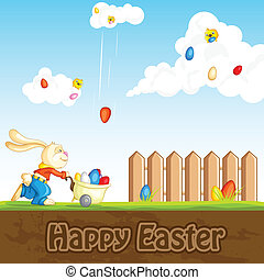 Bunny catching Easter Egg - easy to edit vector illustration...