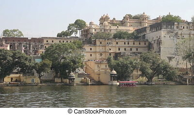 Pichola lake and palaces in Udaipur India