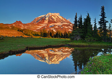 Mt. Rainier reflections - Sunset Photo of Mt. Rainier...