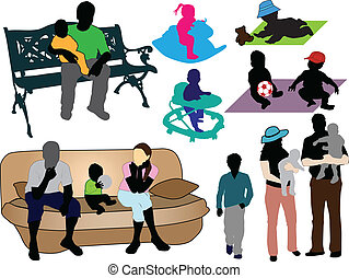 Family -  collection of colorful silhouettes