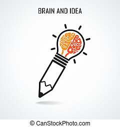 Creative brain and pencil sign - Creative brain Idea concept...