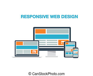 Fully responsive web design flat computer icons vector
