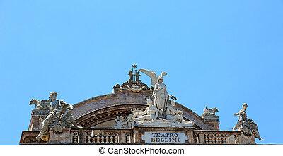 Teatro Massimo Bellini Catania - facade details of the...