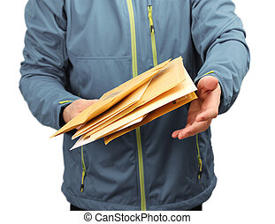 Mail letter envelopes delivery - Male courier service worker...
