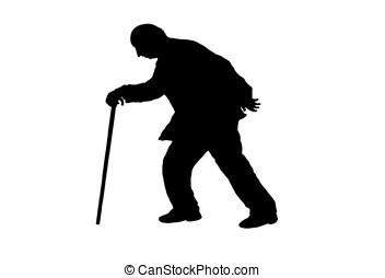old man - illustration, silhouette of an old man walking...