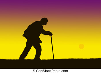 old man - illustration, sunset and the silhouette of an old...