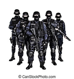 SWAT team - Special weapons and tactics (SWAT) team officers...
