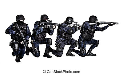 SWAT team in action - Special weapons and tactics SWAT team...
