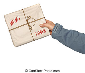 Mail express delivery - Male courier service worker or...