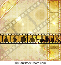 Filmstrip of Dancing People - easy to edit vector...
