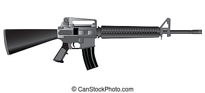 Army Rifle - A typical army style assault weapon isolated on...