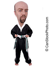 Man Wearing Karate Outfit over a white background