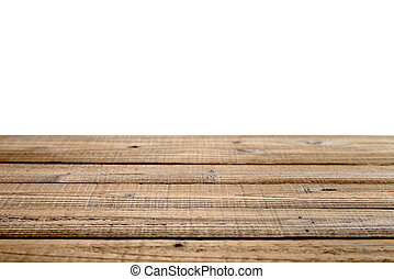Old wooden table isolated on white background. Shallow depth...