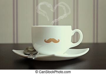 Moustache cup with steam in heart shape on wallpaper...