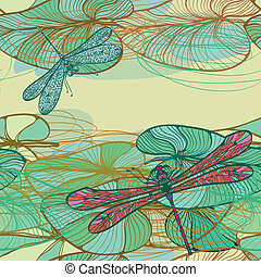 Pattern with lotus leaves - Seamless vintage floral pattern...