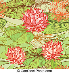 Pattern with pink water lilys - Seamless floral pattern with...