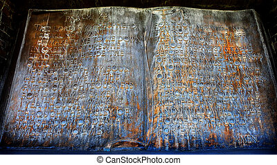 Sculpture of the Lord's Prayer Psalm 23 - Closeup of...