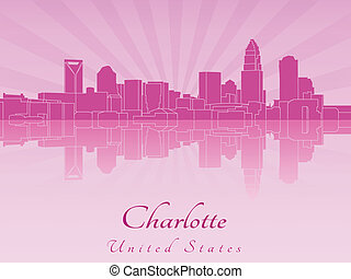 Charlotte skyline in purple radiant orchid in editable...