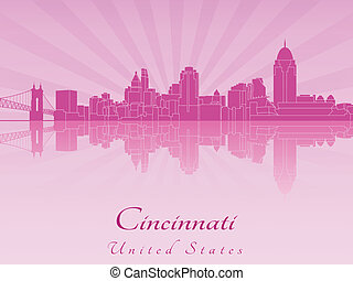 Cincinatti skyline in purple radiant orchid in editable...