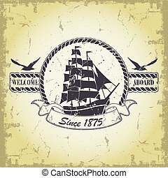 Stamp with a nautical theme - The vector image Stamp with a...