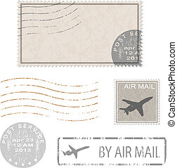 postal business icons - Set of postal business icons, stamps...