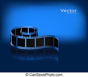 Film on a dark blue background. Vector.