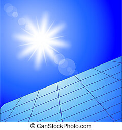 solar panels - Illustration of solar panels and sunny sky....