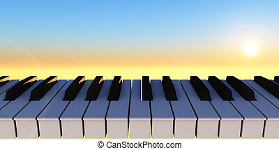 symphony - piano keyboard and sunny sky - 3d illustration