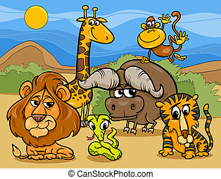 wild animals group cartoon illustration - Cartoon...