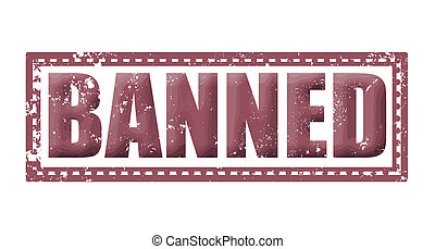 banned label stamp whit on vector illustration