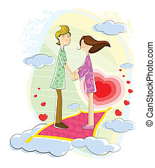 Love couple floating in cloudscape